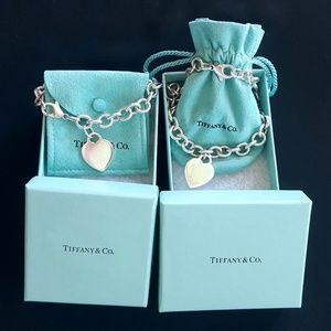 Tiffany & co .925 sterling silver heart tag set
